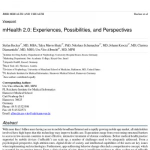 mHealth 2.0: Experiences, Possibilities, and Perspectives