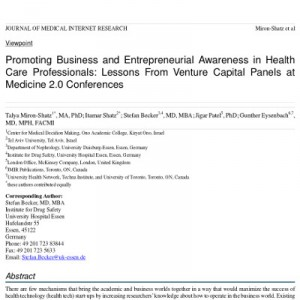 Promoting Business and Entrepreneurial Awareness in Health Care Professionals: Lessons from Venture Capital Panels at Medicine 2.0 Conferences