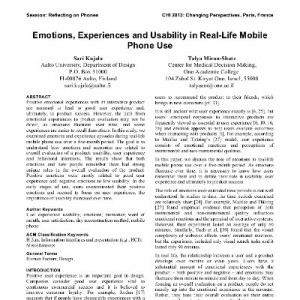 Emotions, experiences and usability in real-life mobile phone use